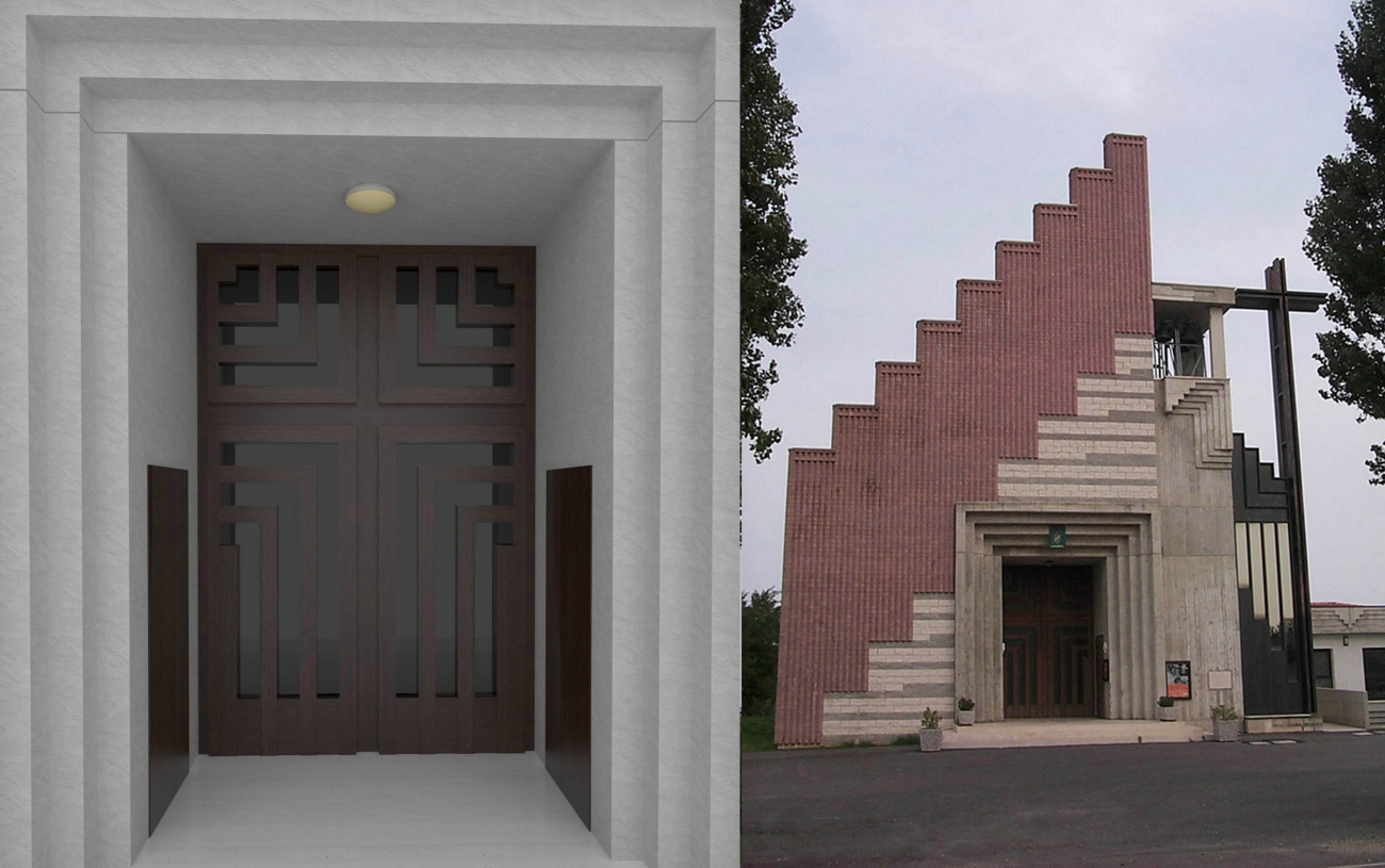 Portale esterno brondolo porte e bussole per chiesa in for Portale arredamento