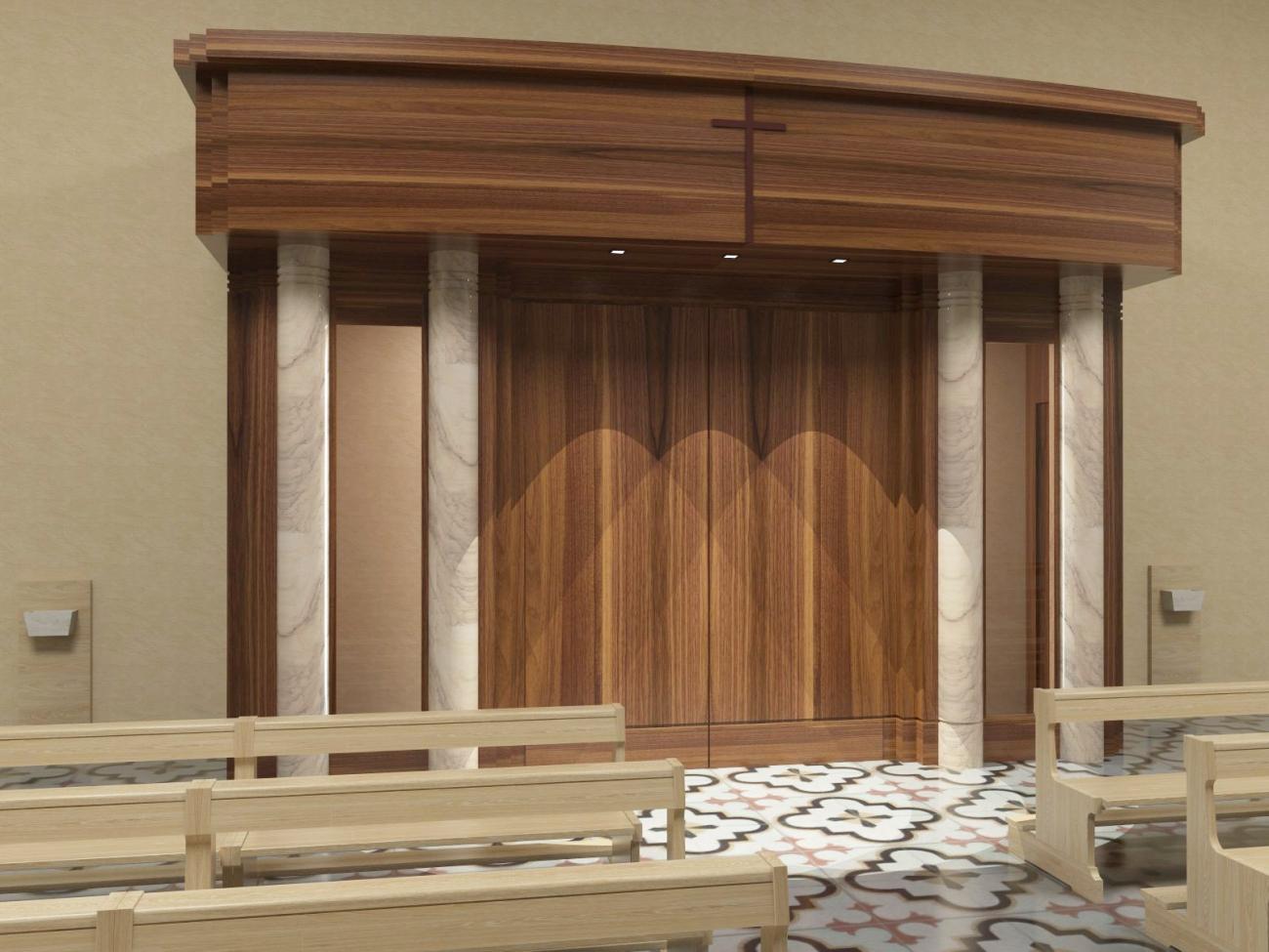 Bussola antiporta legno noce porte e bussole per chiesa for Portale arredamento